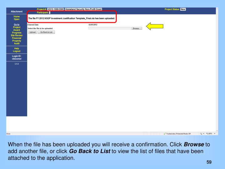 When the file has been uploaded you will receive a confirmation. Click