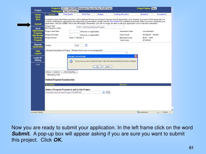 Now you are ready to submit your application. In the left frame click on the word