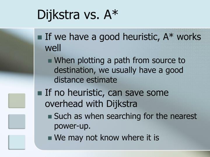 Dijkstra vs. A*