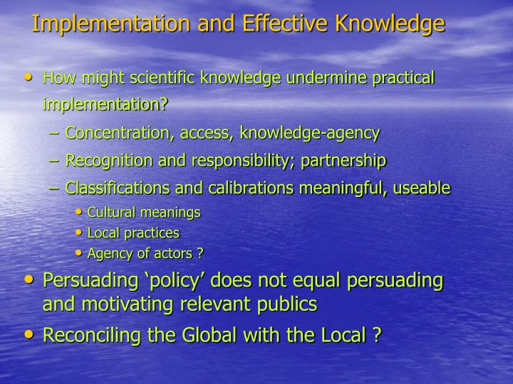 Implementation and Effective Knowledge