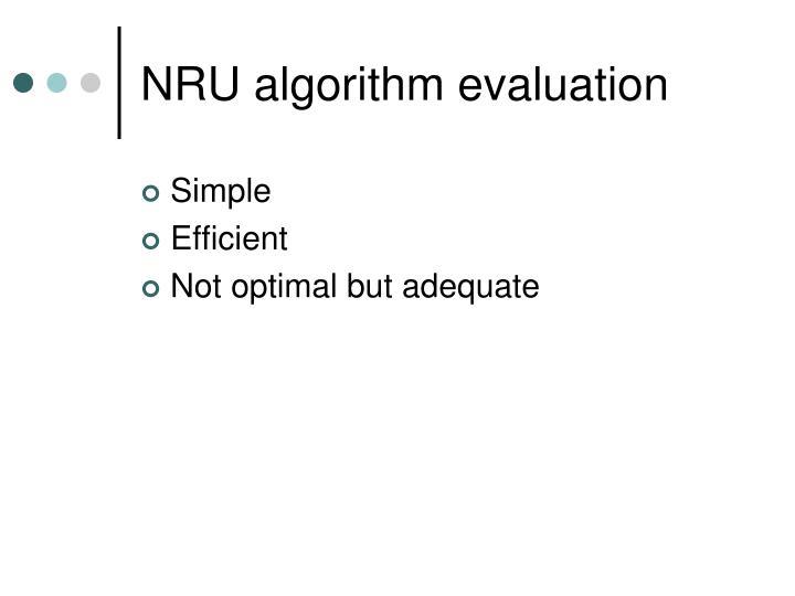 NRU algorithm evaluation