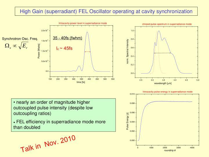 High Gain (superradiant) FEL Oscillator operating at cavity synchronization