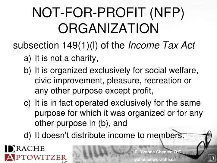 NOT-FOR-PROFIT (NFP) ORGANIZATION