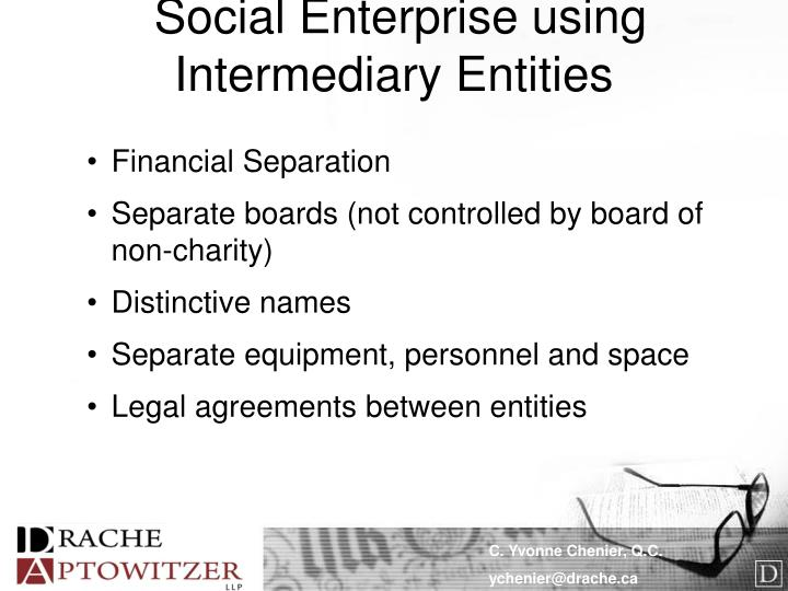 Social Enterprise using Intermediary Entities