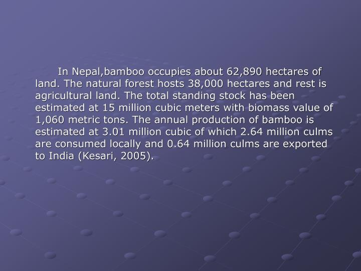 In Nepal,bamboo occupies about 62,890 hectares of land. The natural forest hosts 38,000 hectares and rest is agricultural land. The total standing stock has been estimated at 15 million cubic meters with biomass value of 1,060 metric tons. The annual production of bamboo is estimated at 3.01 million cubic of which 2.64 million culms are consumed locally and 0.64 million culms are exported to India (Kesari, 2005).