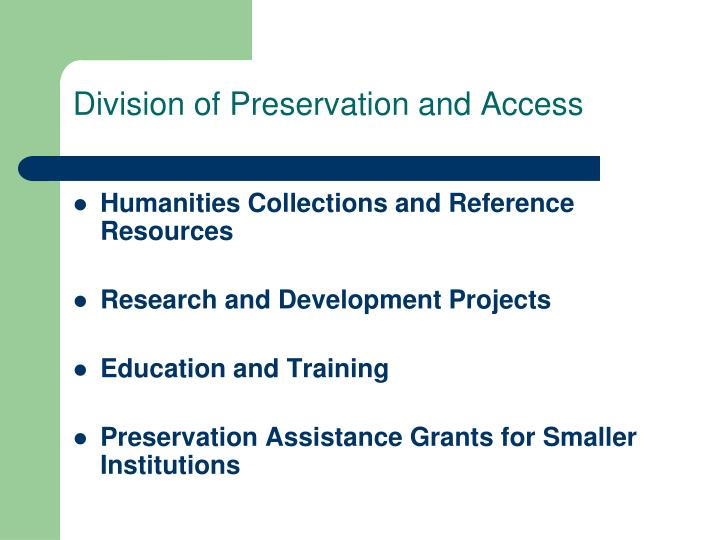 Division of Preservation and Access
