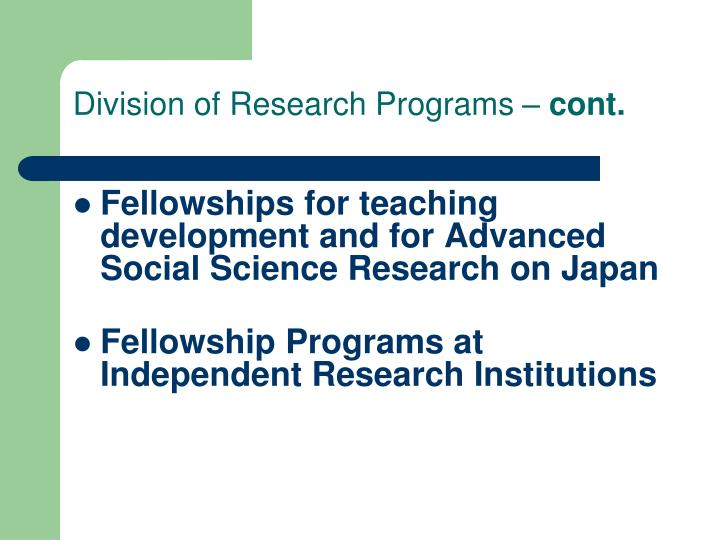 Division of Research Programs –