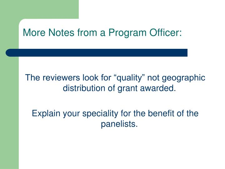 More Notes from a Program Officer: