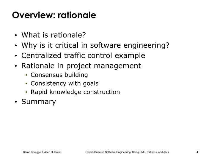 Overview: rationale
