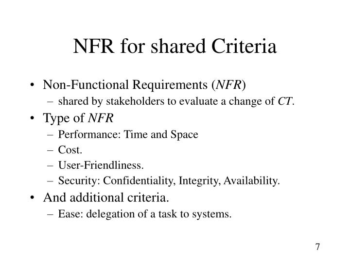 NFR for shared Criteria