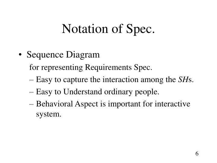 Notation of Spec.