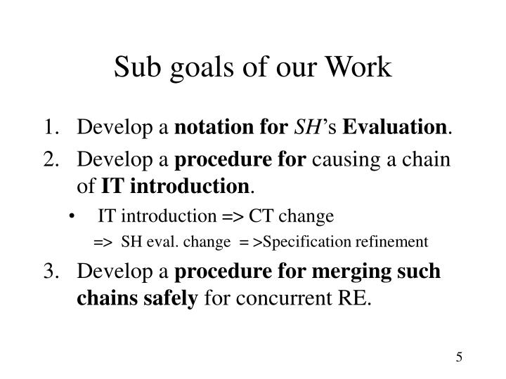 Sub goals of our Work