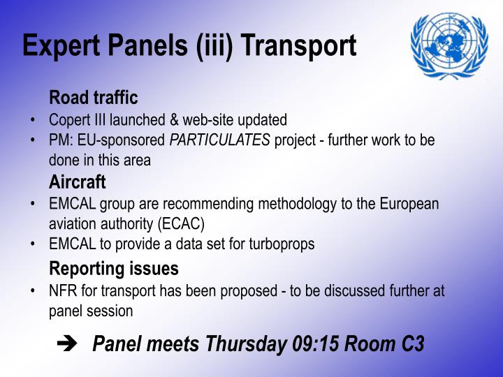Expert Panels (iii) Transport