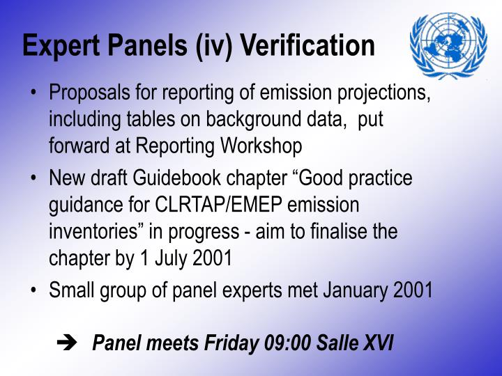 Expert Panels (iv) Verification