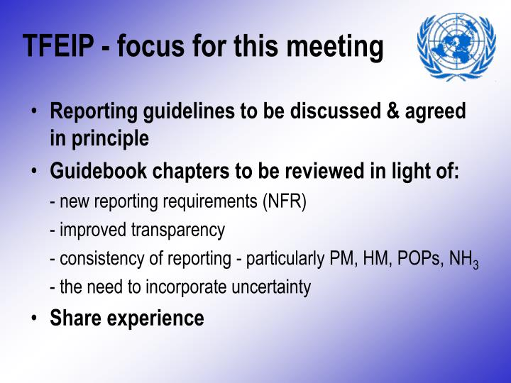 TFEIP - focus for this meeting