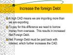 increase the foreign debt