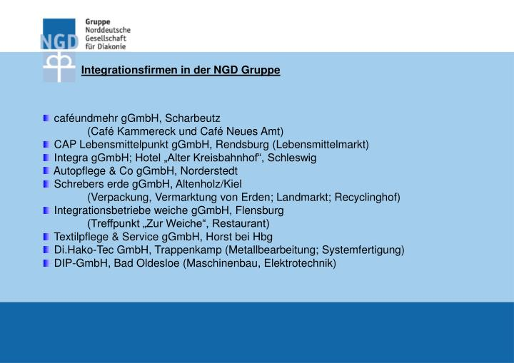 Integrationsfirmen in der NGD Gruppe