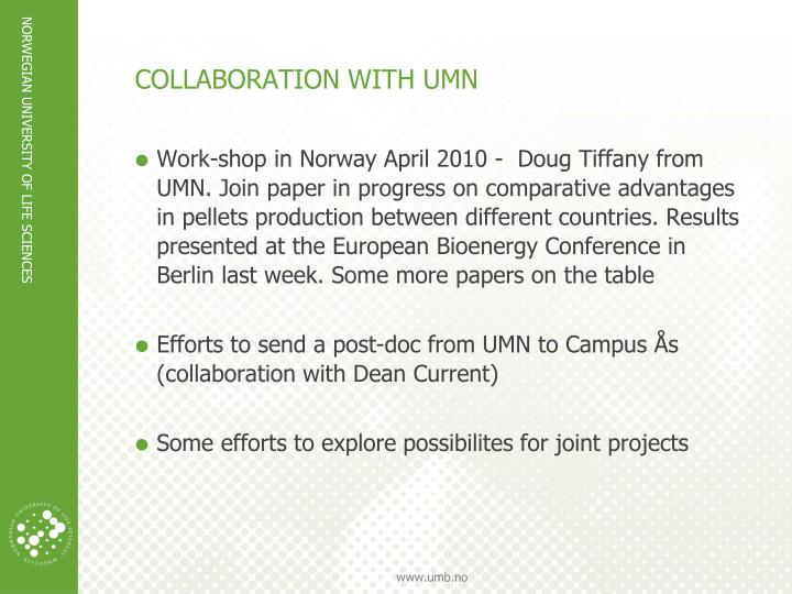 COLLABORATION WITH UMN