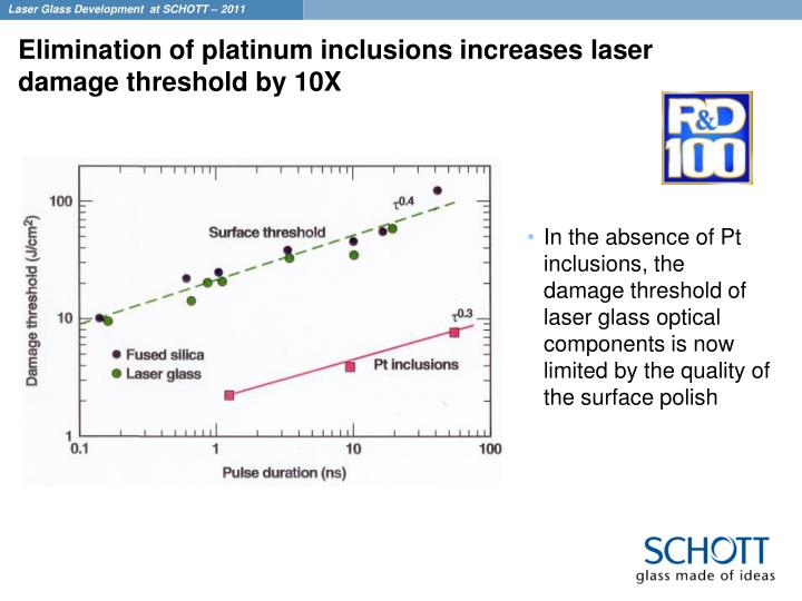 Elimination of platinum inclusions increases laser damage threshold by 10X