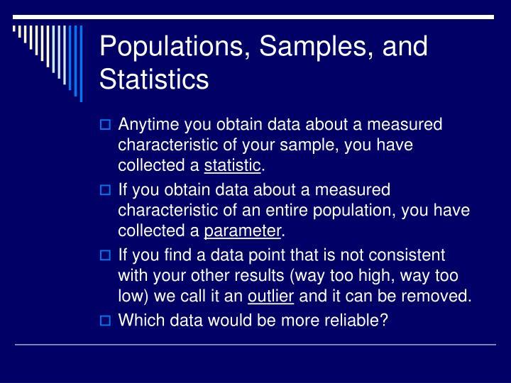 Populations, Samples, and Statistics