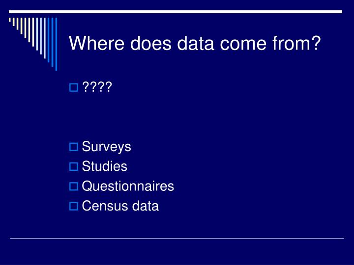 Where does data come from?
