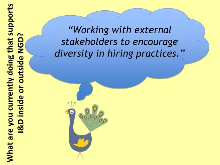 """Working with external stakeholders to encourage diversity in hiring practices."""