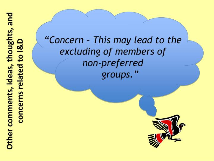 """Concern – This may lead to the excluding of members of"