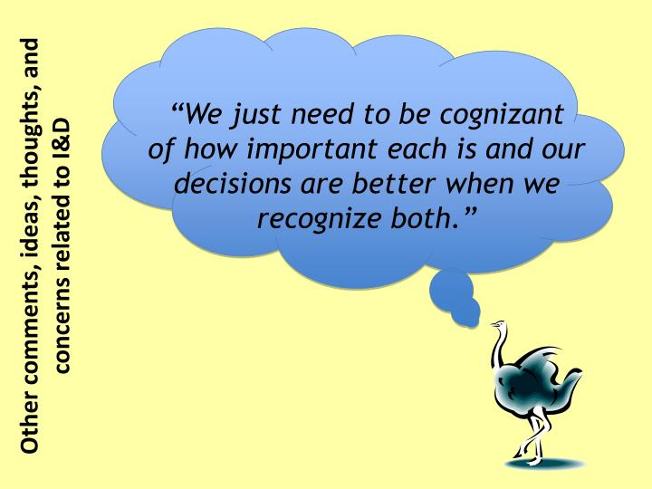 """We just need to be cognizant"