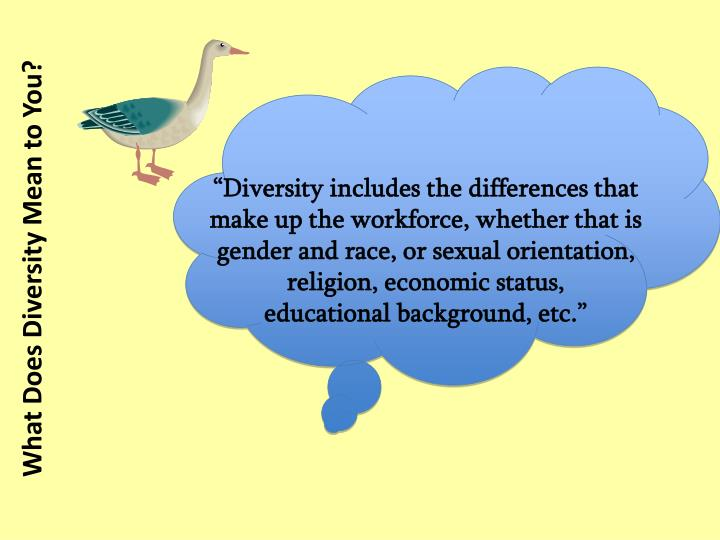"""Diversity includes the differences that make up the workforce, whether that is gender and race, or sexual orientation, religion, economic status,"