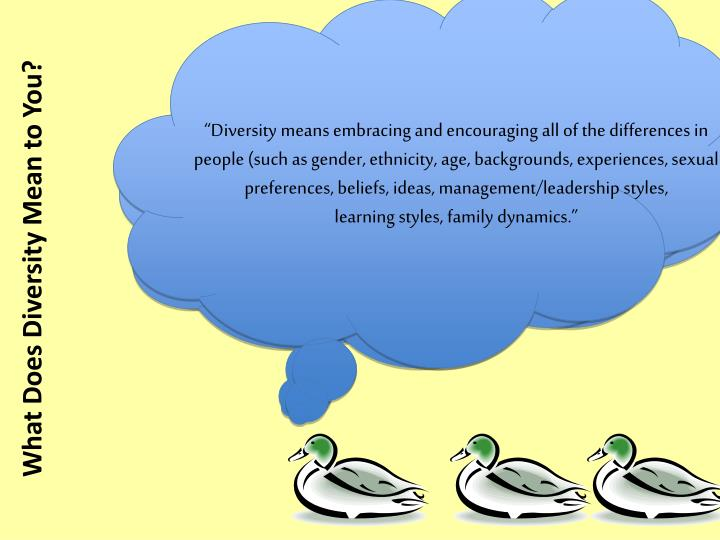 """Diversity means embracing and encouraging all of the differences in people (such as gender, ethnicity, age, backgrounds, experiences, sexual preferences, beliefs, ideas, management/leadership styles,"