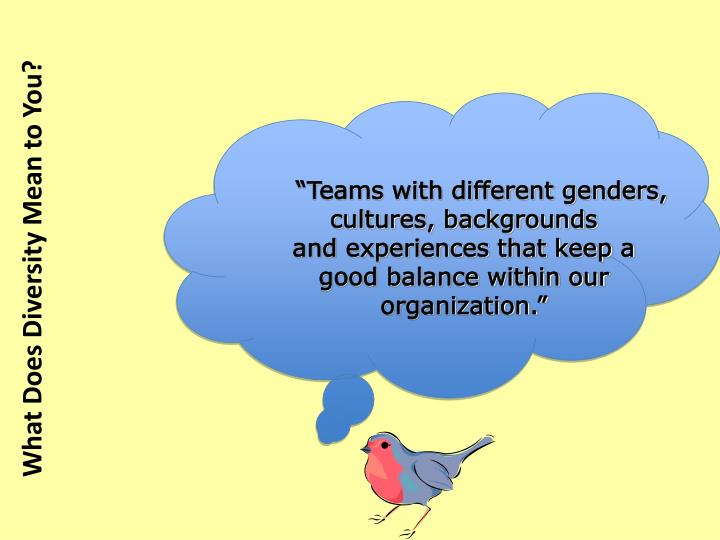 """Teams with different genders, cultures, backgrounds"