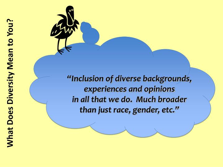 """Inclusion of diverse backgrounds, experiences and opinions"