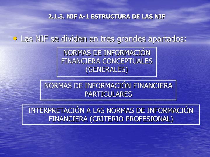 2.1.3. NIF A-1 ESTRUCTURA DE LAS NIF