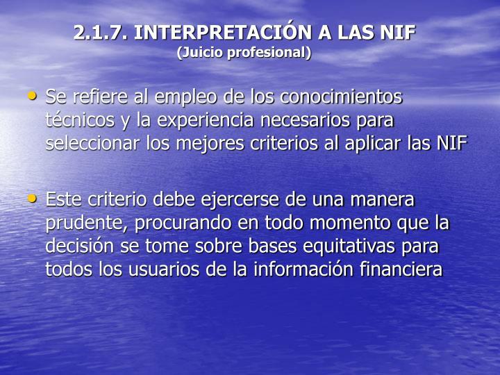 2.1.7. INTERPRETACIÓN A LAS NIF