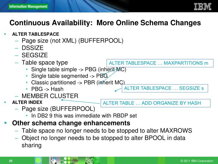 Continuous Availability:  More Online Schema Changes