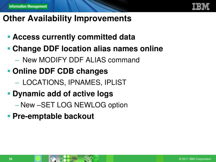 Other Availability Improvements