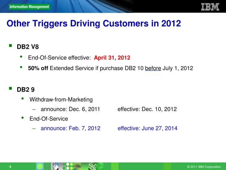 Other Triggers Driving Customers in 2012