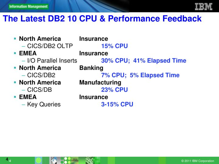 The Latest DB2 10 CPU & Performance Feedback