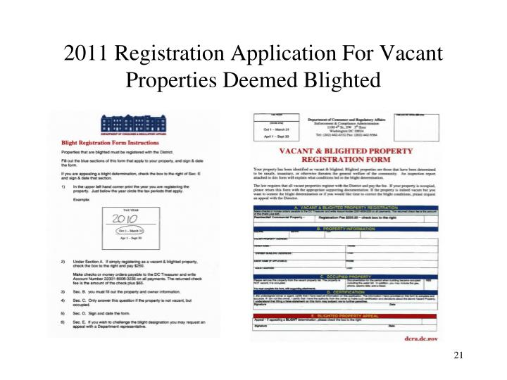 2011 Registration Application For Vacant Properties Deemed Blighted