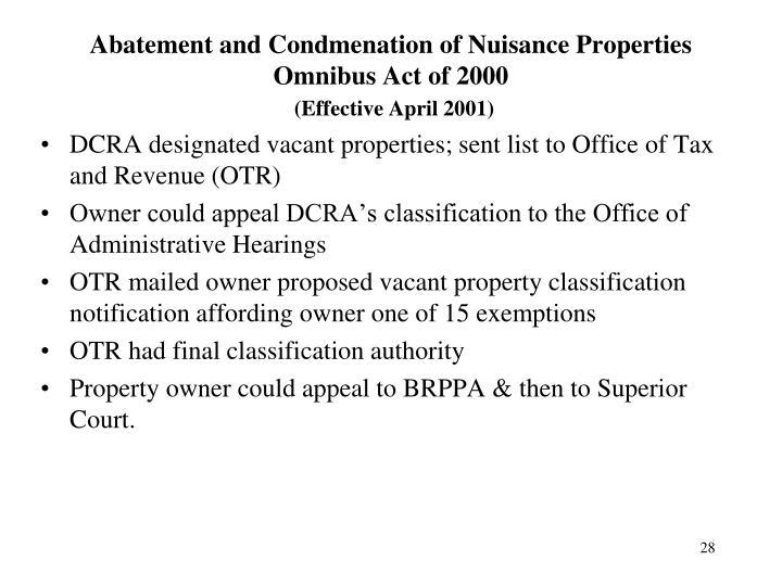 Abatement and Condmenation of Nuisance Properties Omnibus Act of 2000