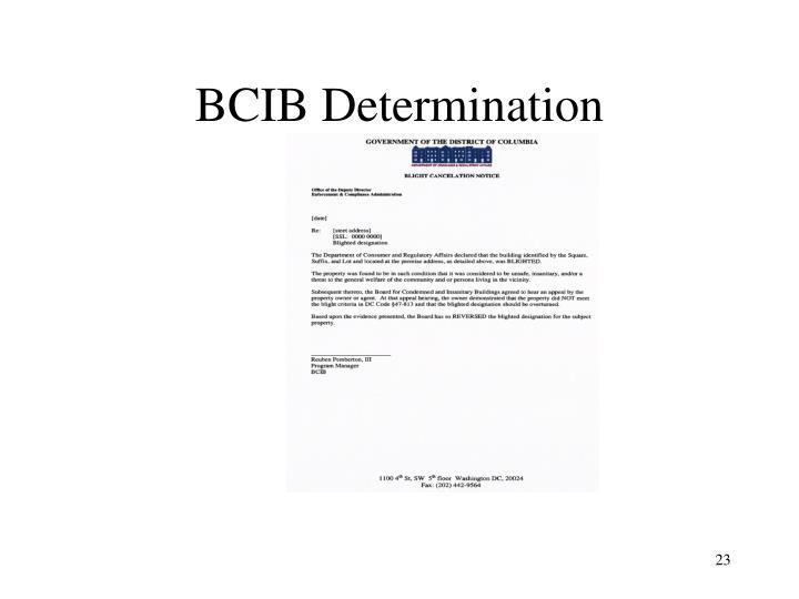 BCIB Determination