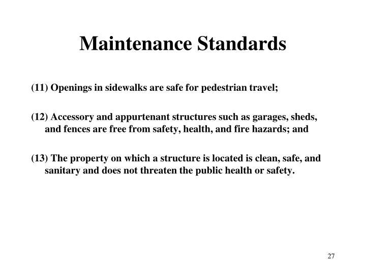Maintenance Standards