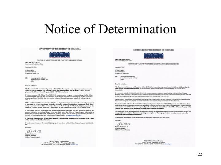 Notice of Determination
