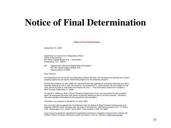 Notice of Final Determination