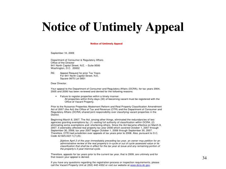Notice of Untimely Appeal