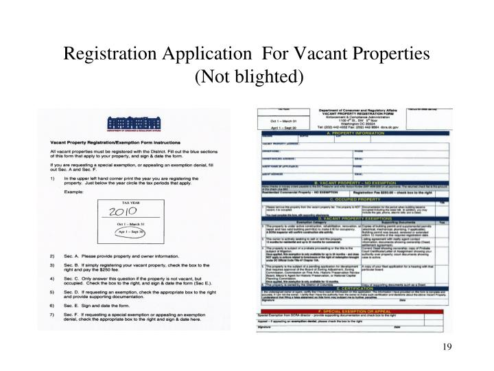 Registration Application  For Vacant Properties