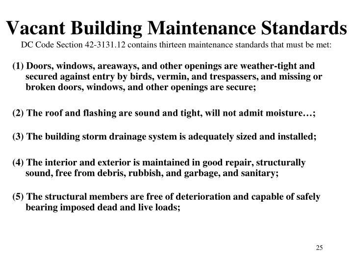 Vacant Building Maintenance Standards