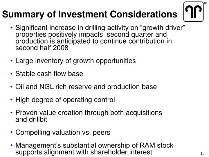Summary of Investment Considerations
