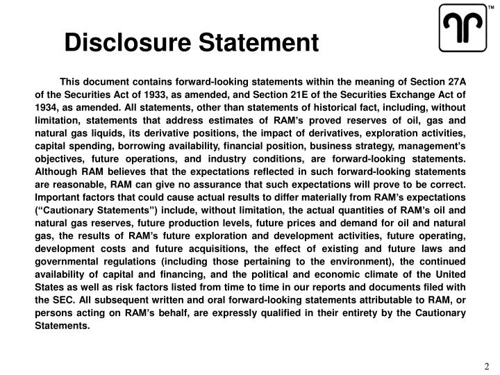 Disclosure Statement