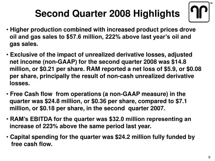 Second Quarter 2008 Highlights